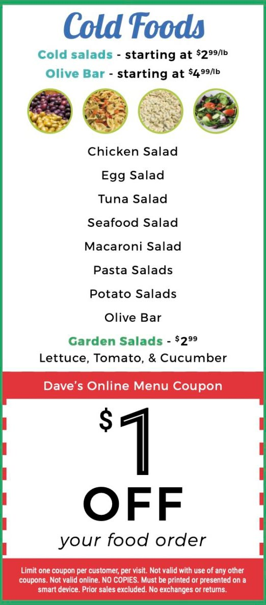 Dave's Deli Menu Cold Foods