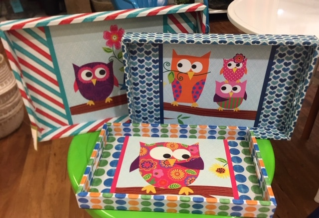 Decorative Owl Themed Serving Trays