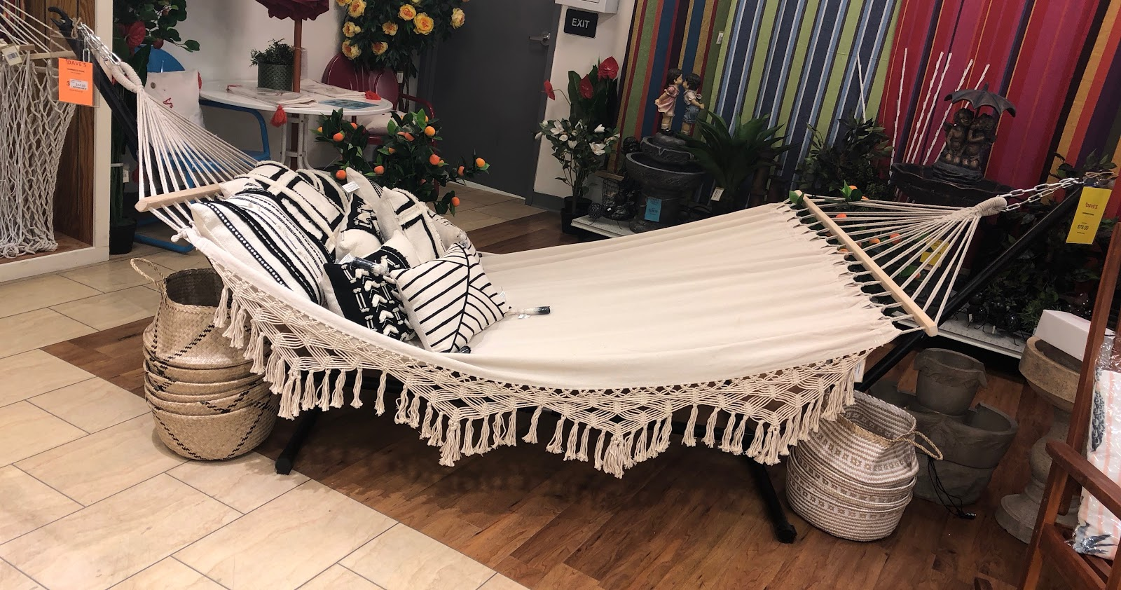 White Outdoor Hammock Hanging On Display