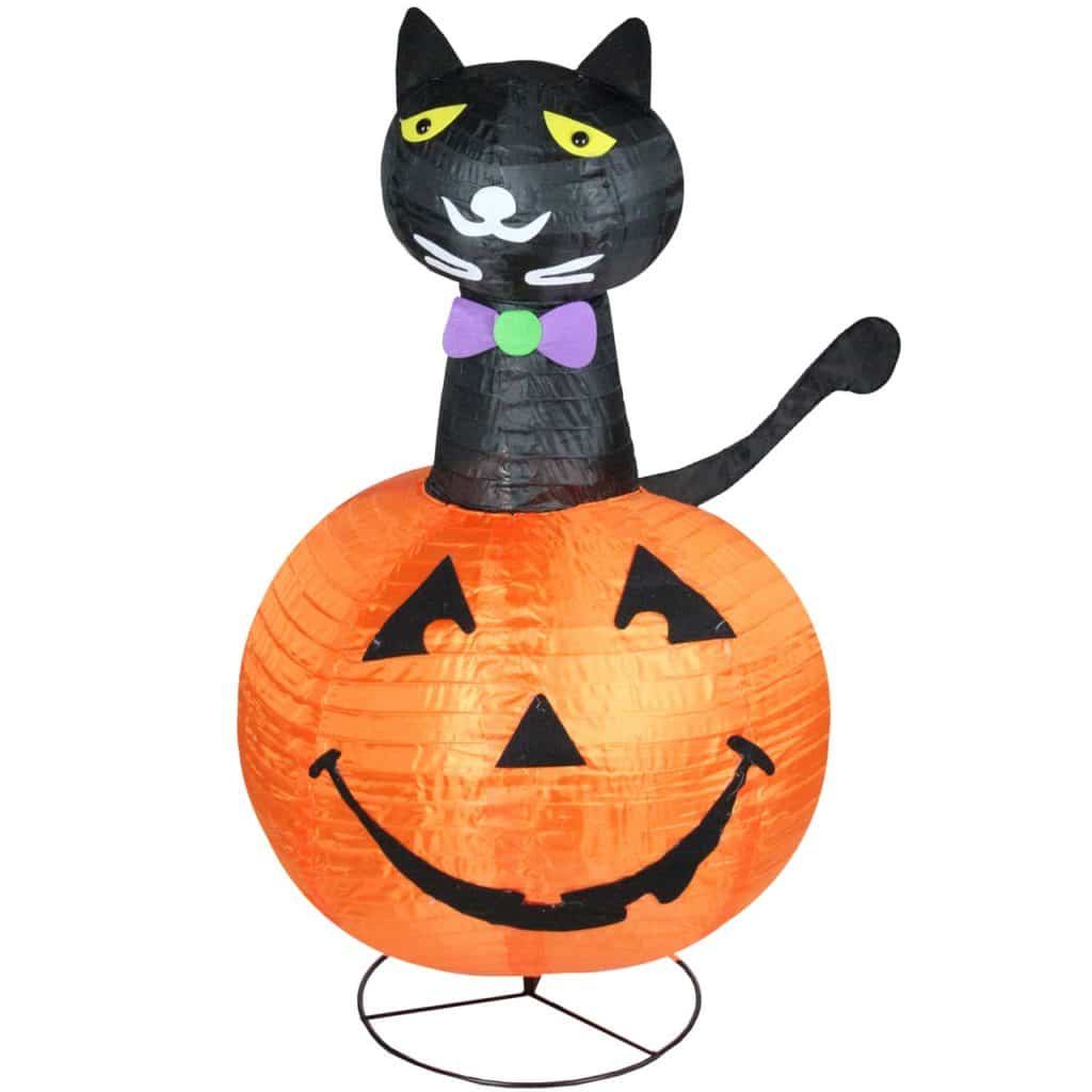 Cat In Pumpkin Outdoor Halloween Decoration