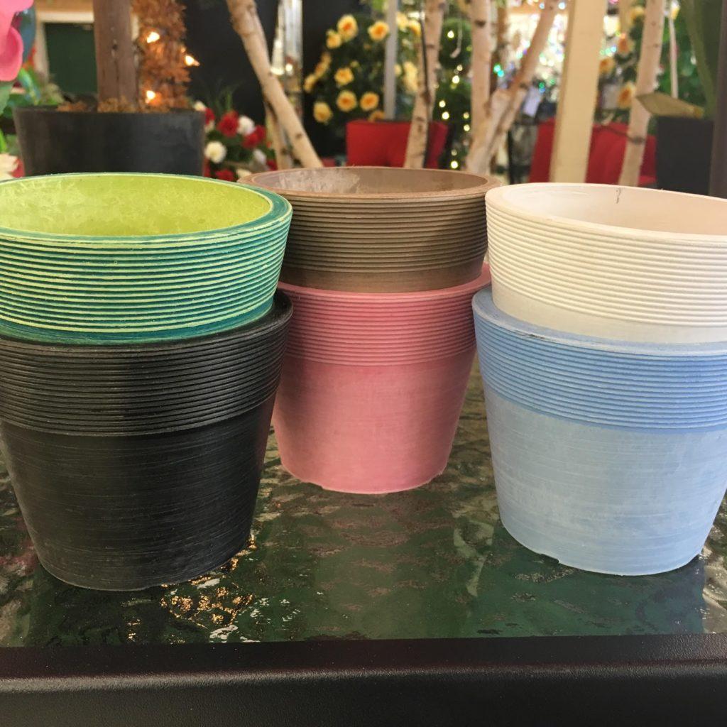 Decorative Flower Pots on Glass Table