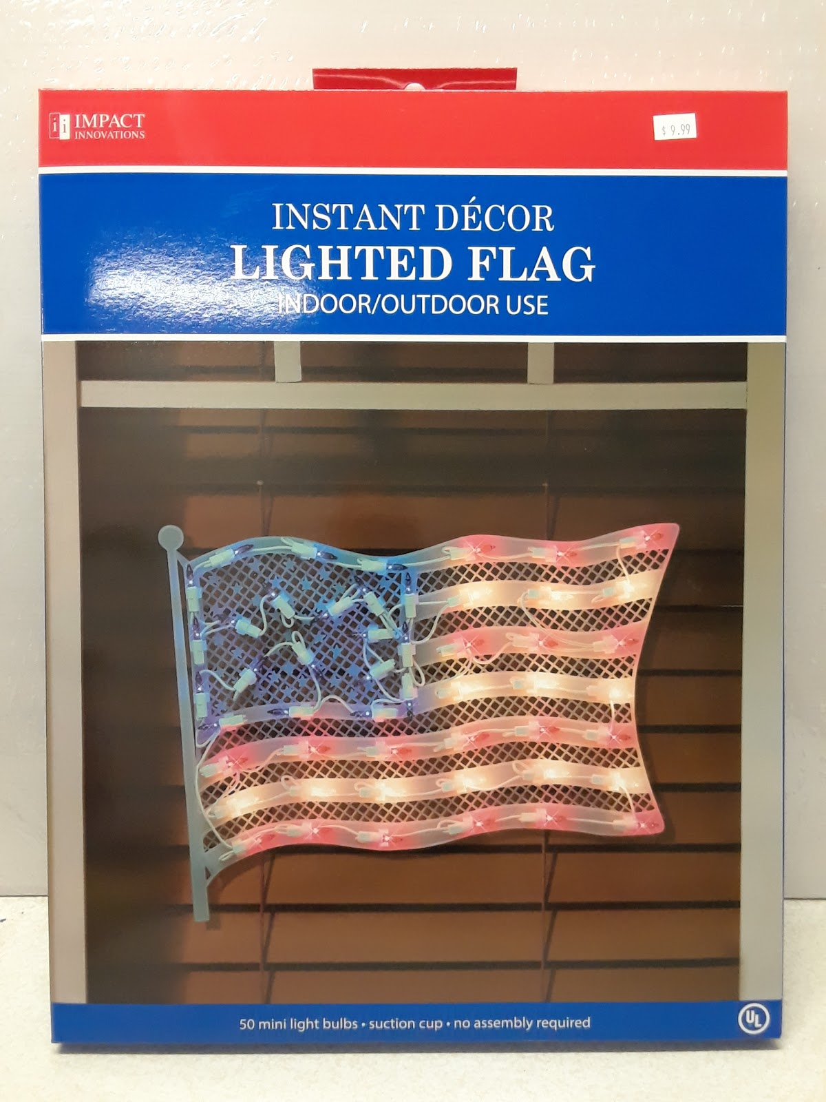 Lighted American Flag Window Silhouette