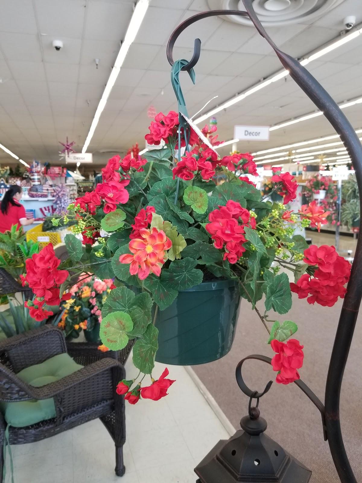 Red Flower Hanging Basket