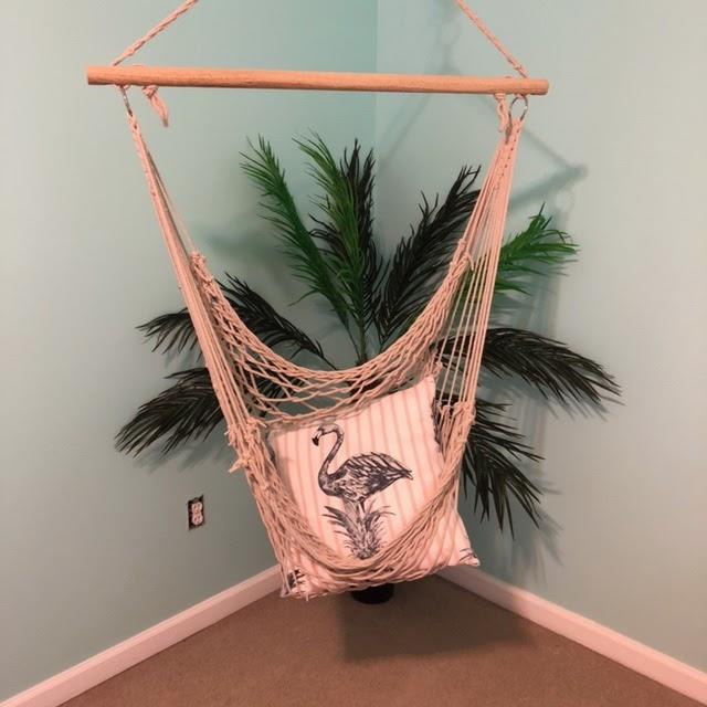 Indoor Hanging Hammock With Throw Pillow