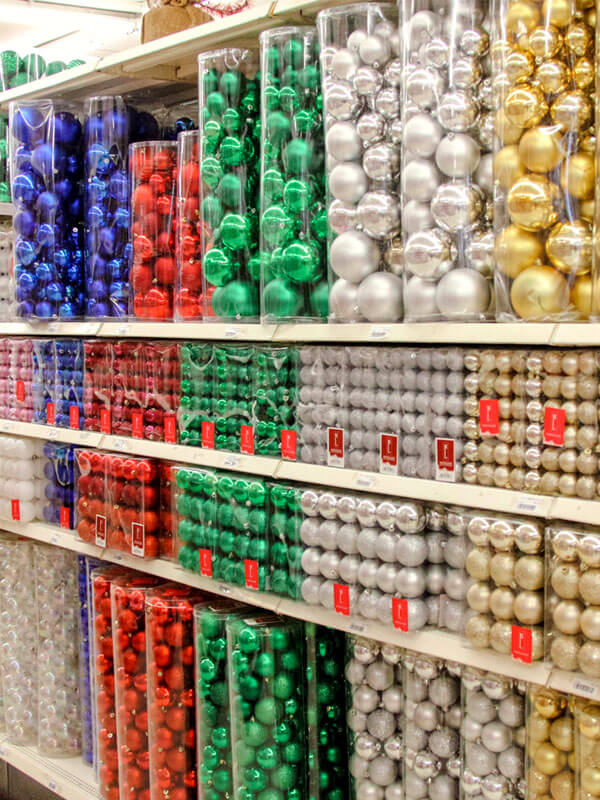 Variety of Glass Ball Ornaments on Shelf