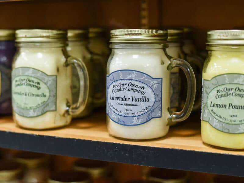 Lavender Scented Candles on Shelf